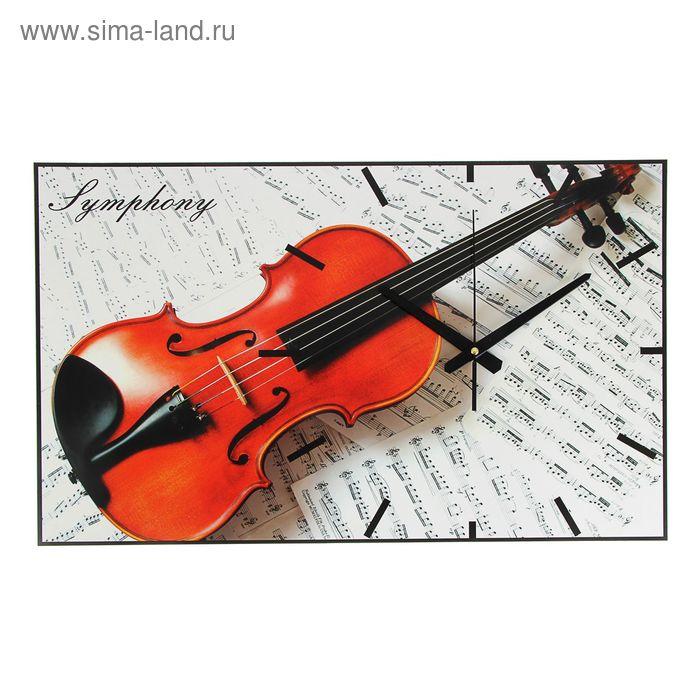 """Часы-картина настенные прямоугольные """"Скрипка"""", 61х37 см"""