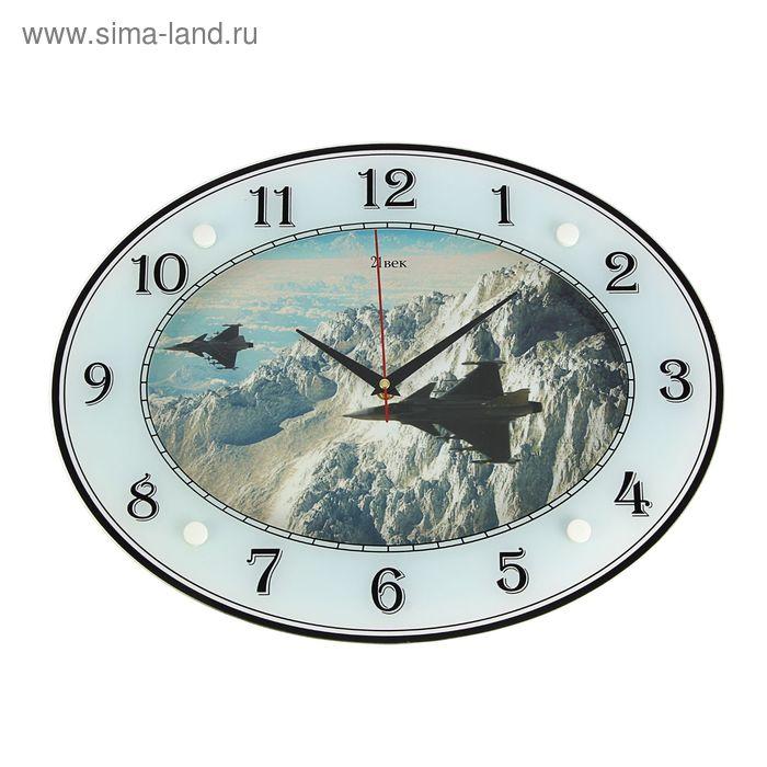 """Часы настенные овальные """"Истребители"""", 46х35 см"""