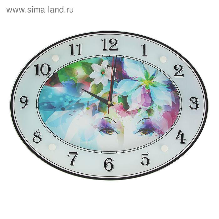 """Часы настенные овальные """"Цветы"""", 46х35 см"""