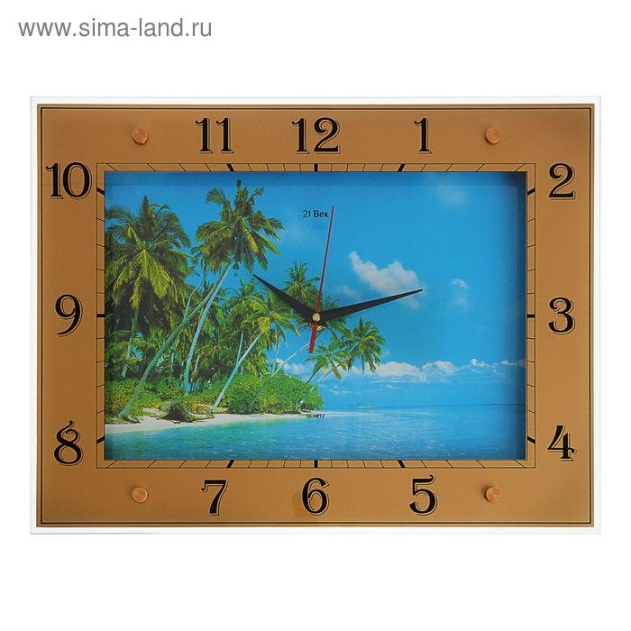 """Часы настенные прямоугольные """"Тропики"""", 32х42 см"""