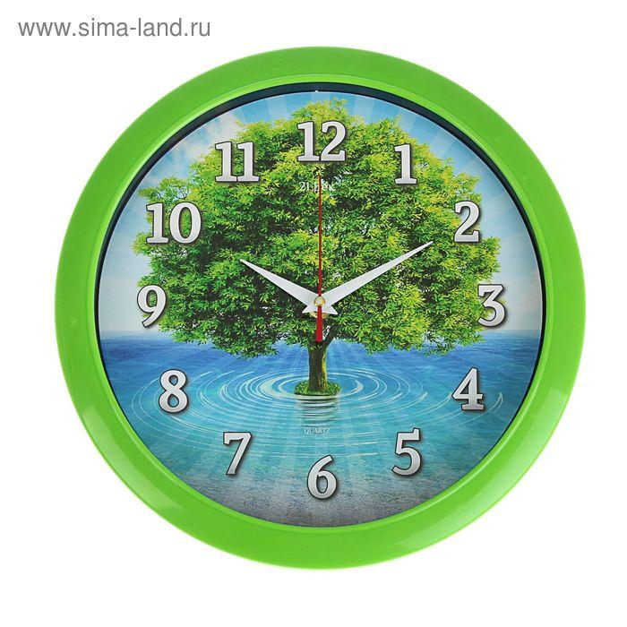 """Часы настенные круглые, """"Зеленое дерево"""", классика, 30 см"""
