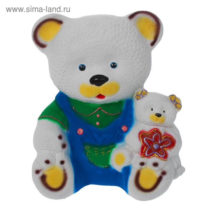 """Копилка """"Медведь с медвежонком"""" флок, белая"""