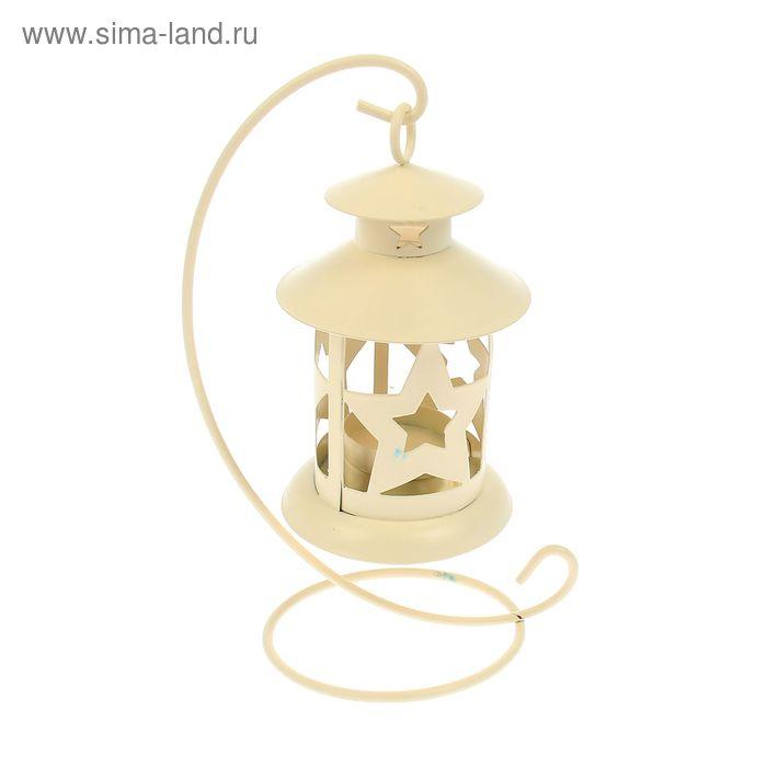 """Подсвечник 1 свеча """"Звёздный фонарь"""", белый"""