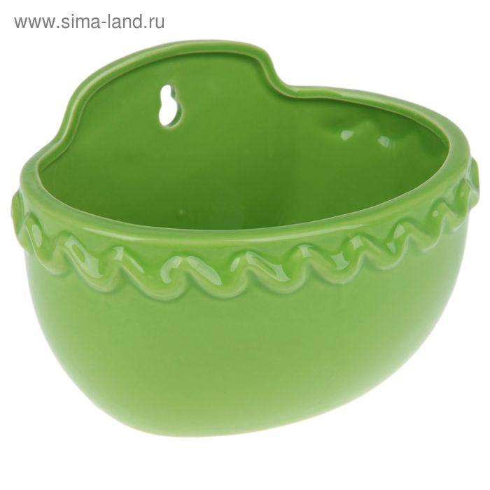 """Кашпо настенное """"Константа"""" зелёное, круглое"""