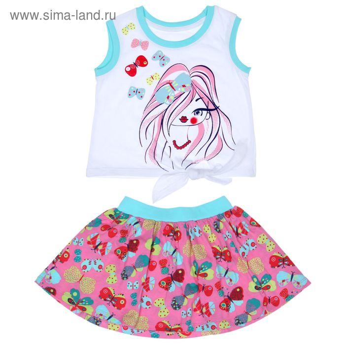 Комплект для девочки (майка+юбка), рост 104 см (56), цвет белый+розовый/бирюза_160083