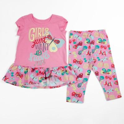 Комплект для девочки (футболка+бриджи), рост 122 см (64), цвет розовый_160084