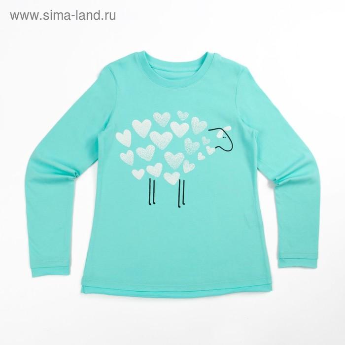 Джемпер для девочки, рост 128 см (64), цвет св.бирюза_160088