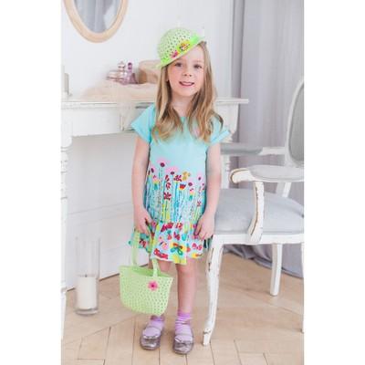 Платье для девочки, рост 110 см (60), цвет св.бирюза_160075