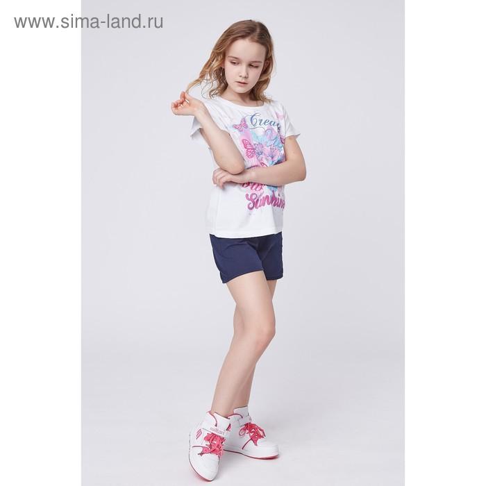 Футболка для девочки, рост 146 см (72), цвет белый_160237