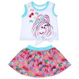 Комплект для девочки (майка+юбка), рост 98 см (56), цвет белый+розовый/бирюза_160083