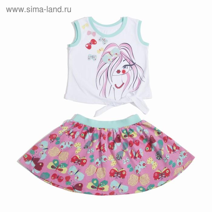 Комплект для девочки (майка+юбка), рост 116 см (60), цвет белый+бирюза/розовый_160083