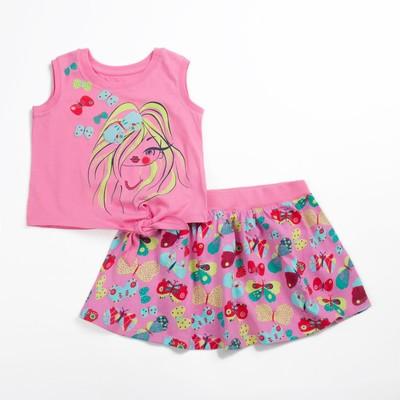 Комплект для девочки (майка+юбка), рост 104 см (56), цвет розовый_160083