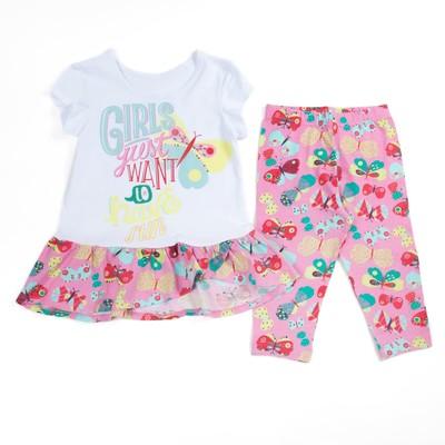 Комплект для девочки (футболка+бриджи), рост 122 см (64), цвет белый/розовый_160084