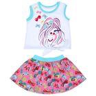Комплект для девочки (майка+юбка), рост 116 см (60), цвет белый+розовый/бирюза_160083