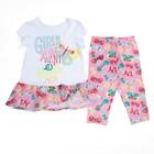 Комплект для девочки (футболка+бриджи), рост 116 см (60), цвет белый/розовый_160084