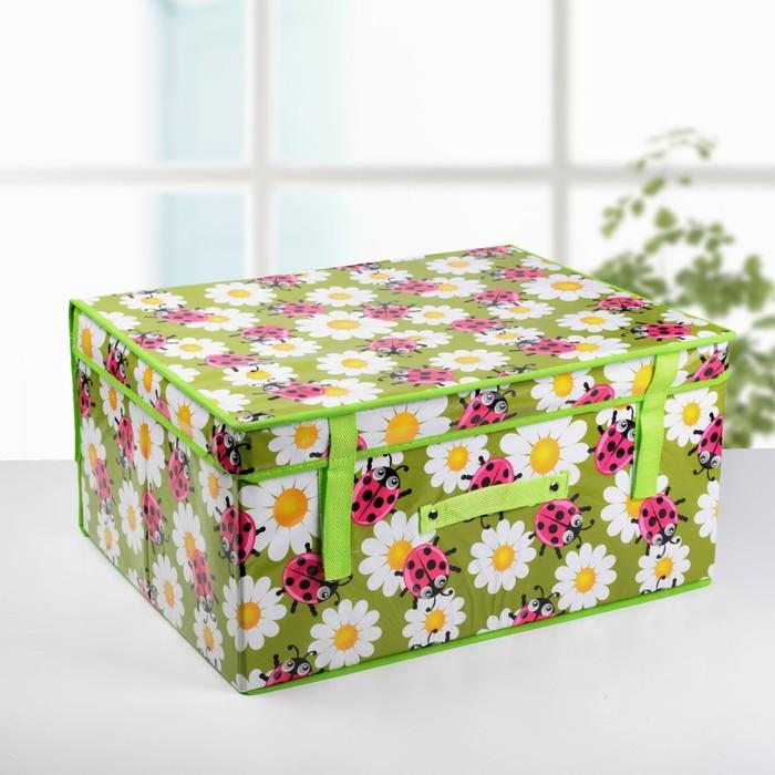 Короб для хранения с крышкой «Божьи коровки», 50×40×25 см, цвет зелёный - фото 308331804