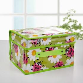 Короб для хранения с крышкой «Божьи коровки», 26×20×16 см, цвет зелёный