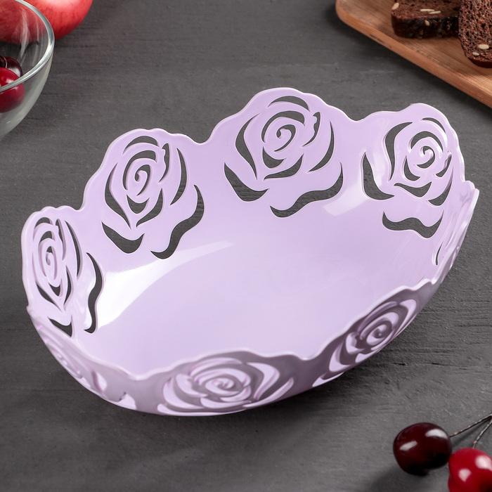"""Ваза для хлеба и фруктов """"Розы"""" овальная 26х20х8 см цвета МИКС"""