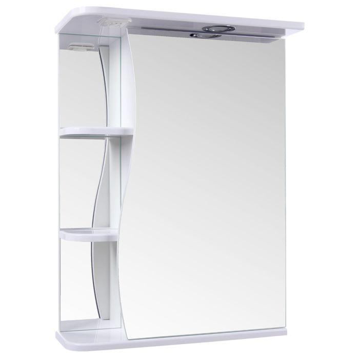"Зеркало-шкаф ""Тура"", с тремя полками, 50 х 23,4 х 70 см, со светильником - фото 886488"