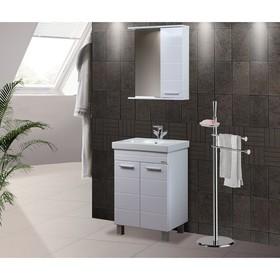 "Зеркало-шкаф ""Квадро"", 60 х 15,4 х 70 см, белый глянец - фото 4651559"