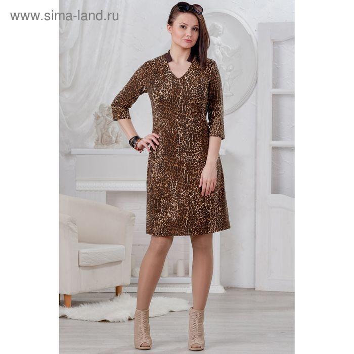 Платье женское, размер 50, рост 164 см, цвет шоколад/леопард (арт. 4454 С+)
