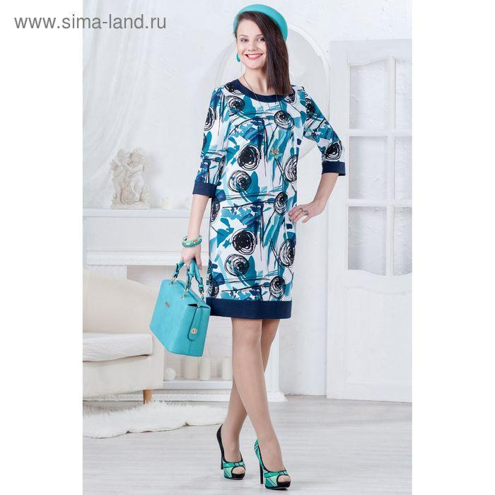 Платье женское 4470, размер 48, рост 164 см, цвет темно-синий/бирюза/черный