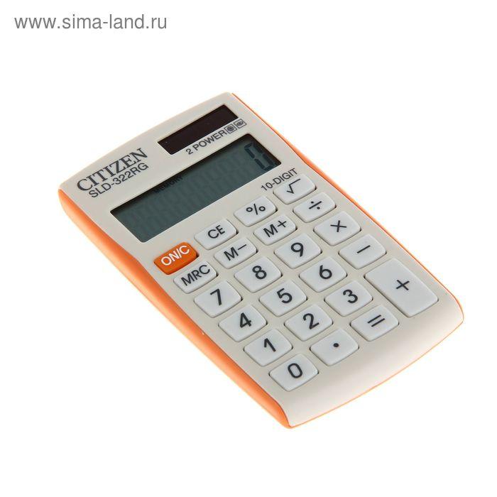 Калькулятор карманный 10-разрядный SLD-322RG, 64*105*9мм, двойное питание, бело-оранжевый