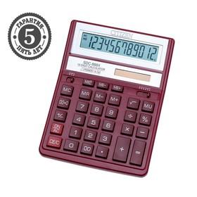 Калькулятор настольный 12-разрядный SDC-888XRD, 158*203*31мм, двойное питание, красный
