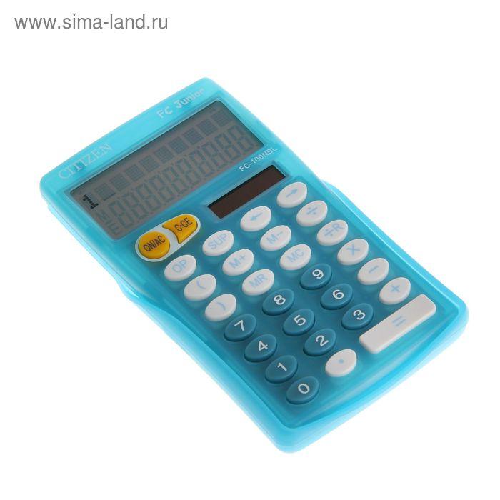 Калькулятор карманный 10-разрядный FC-100NBLCFS, 76*129*10мм, двойное питание, синий