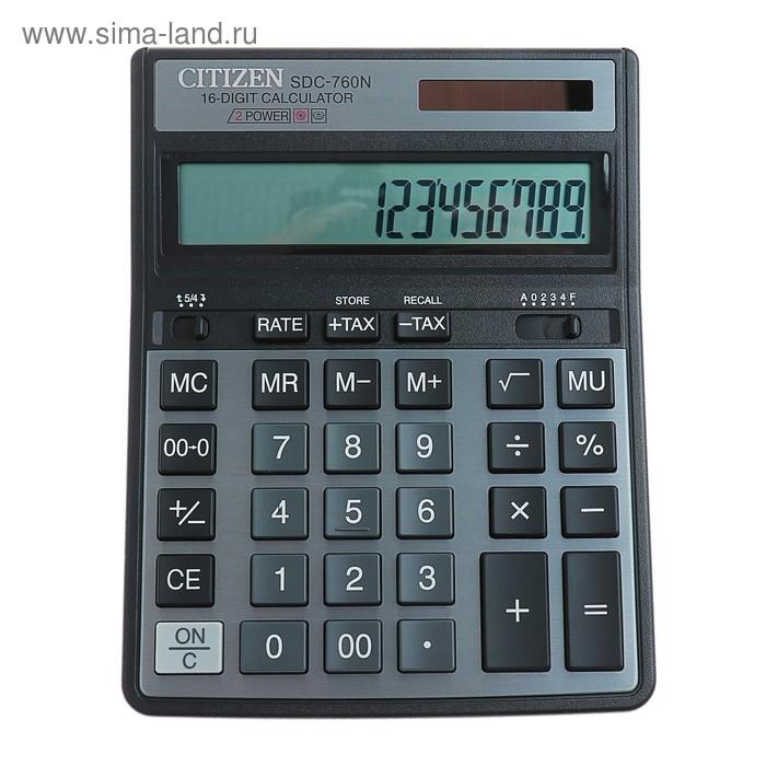 Калькулятор настольный 16-разрядный SDC-760N, 158*204*31мм, двойное питание, черный