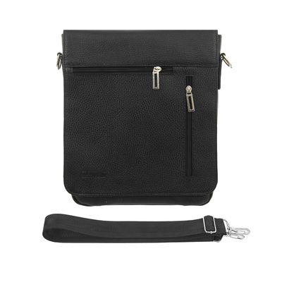 Сумка мужская, 2 отдела, 3 наружных кармана, регулируемый ремень, чёрная