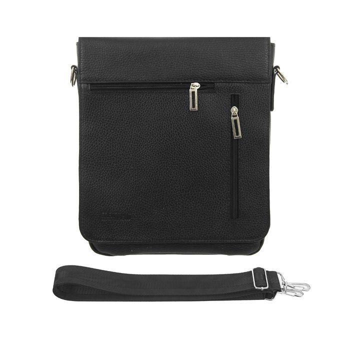 Сумка мужская, 2 отдела, 3 наружных кармана, регулируемый ремень, цвет чёрный