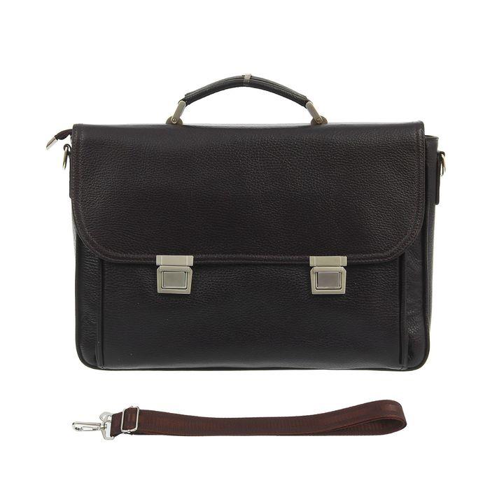 Портфель мужской, 2 отдела, наружный карман, длинный ремень, цвет коричневый