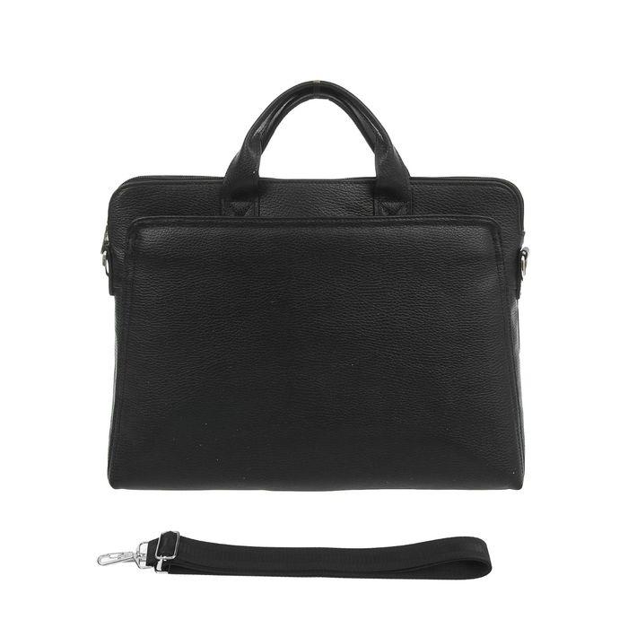 Портфель мужской, 1 отдел, 2 наружных кармана, регулируемый ремень, цвет чёрный