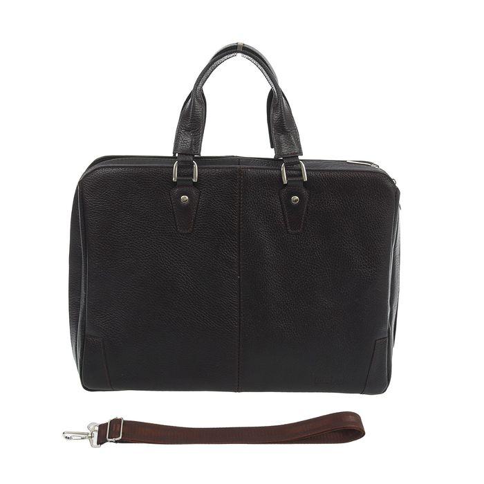 Портфель мужской, 1 отдел на молнии, 2 наружных кармана, длинный ремень, цвет коричневый