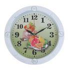 """Часы настенные кухонные """"Цитрусы"""", d=19 см, белая рама, вставки в виде роз"""