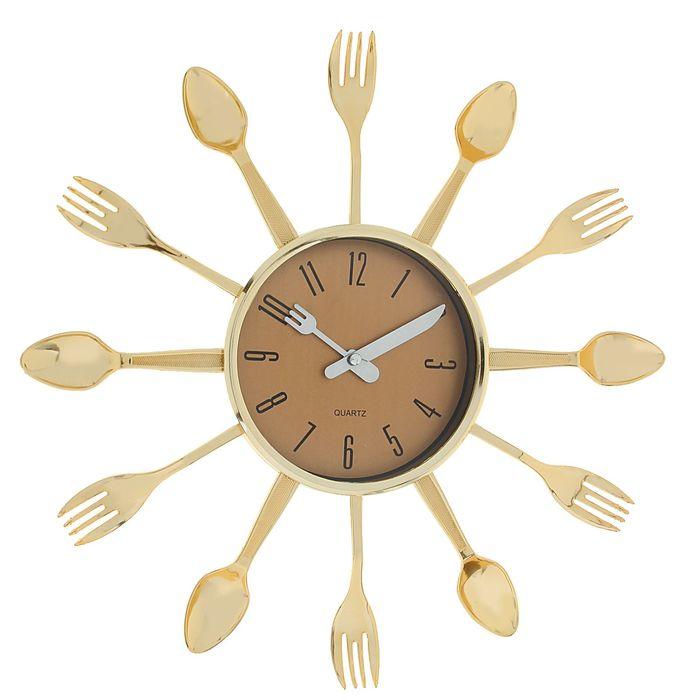 """Часы настенные, серия: Кухня, """"Вилки, ложки, поварешки"""", золото, d=33 см"""