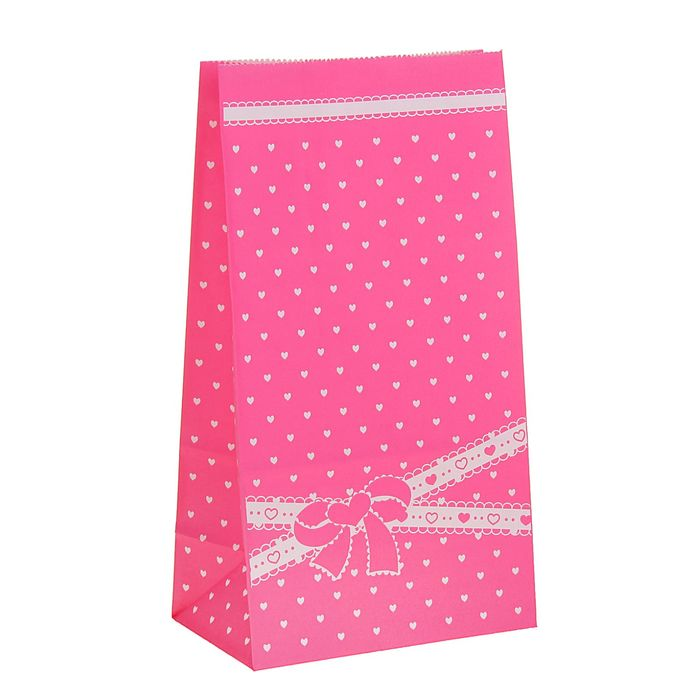 """Пакет фасовочный """"Бантик"""", розовый, 13 х 8 х 24 см - фото 183584527"""