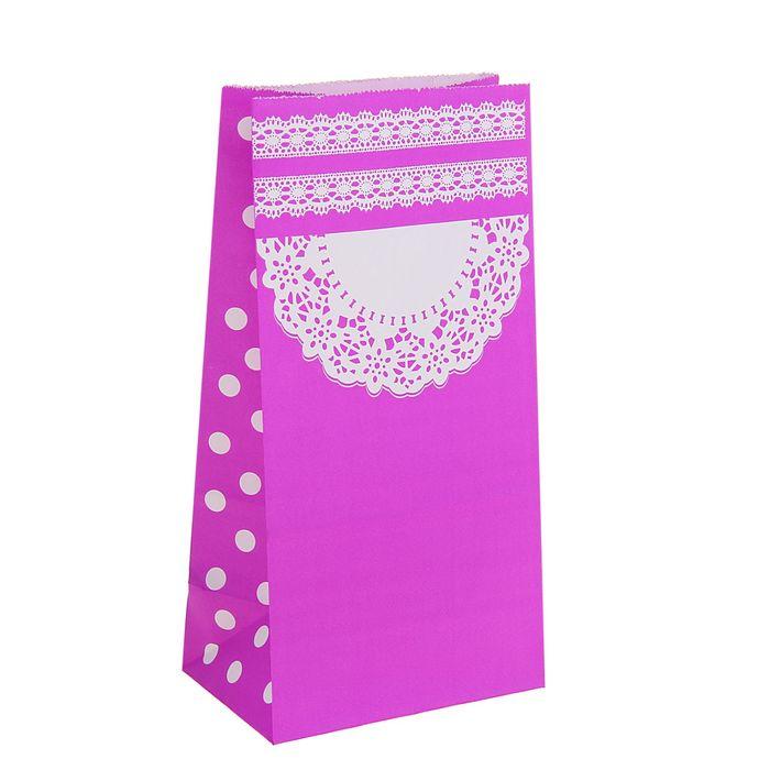 "Пакет фасовочный ""Ажур"", фиолетовый, 13 х 8 х 24 см"