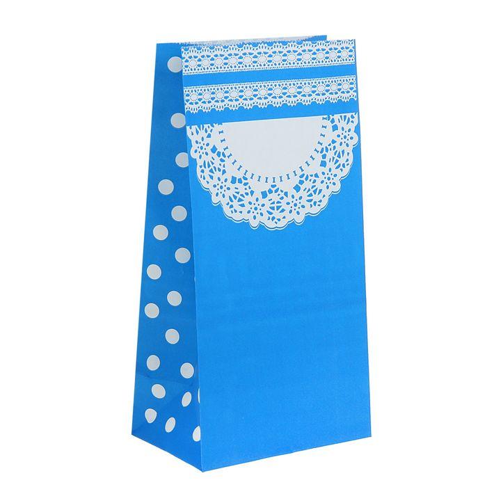 "Пакет фасовочный ""Ажур"", голубой, 13 х 8 х 24 см"