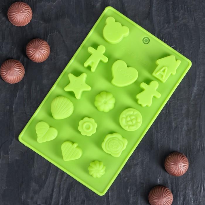 "Форма для льда и шоколада, 15 ячеек, 21х12х1,5 см ""Ассорти"", цвета МИКС"