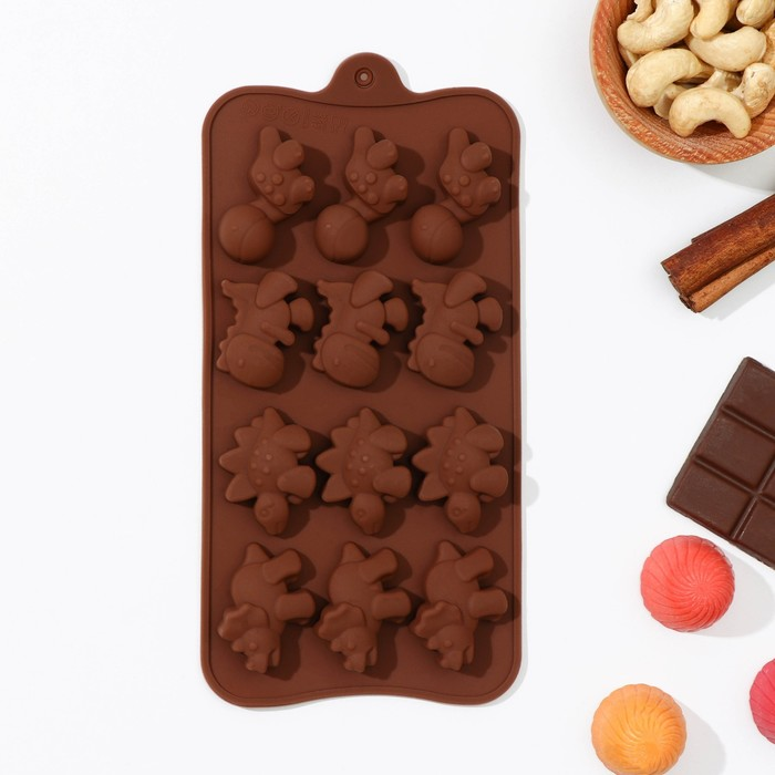 "Форма для льда и шоколада, 12 ячеек, 21х11х2 см ""Дино"", цвета МИКС"