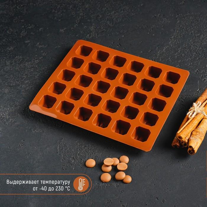 Форма для льда и шоколада «Английский алфавит», 17×14×2 см, 30 ячеек, цвет шоколадный - фото 308047563