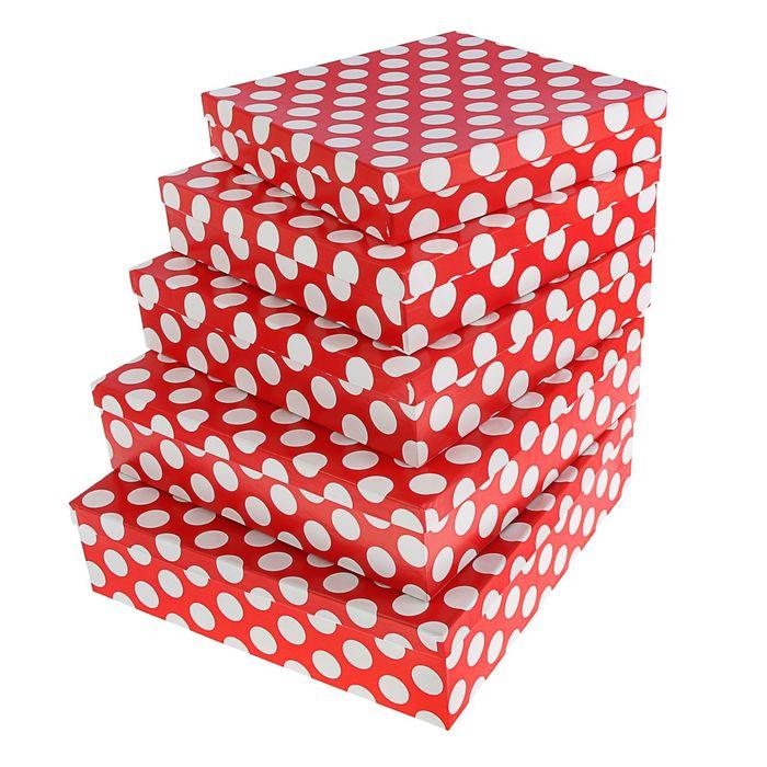 """Набор коробок 5в1 """"Белый горох на красном"""""""