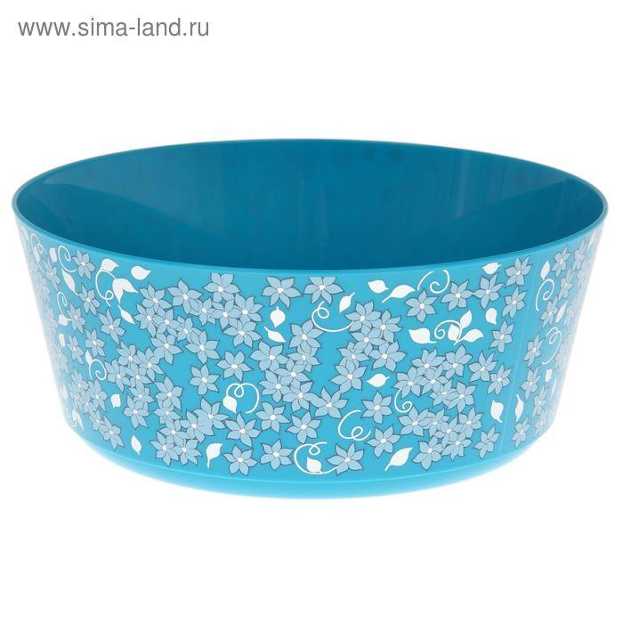 """Миска 3 л """"Деко. Цветы"""", цвет голубой"""