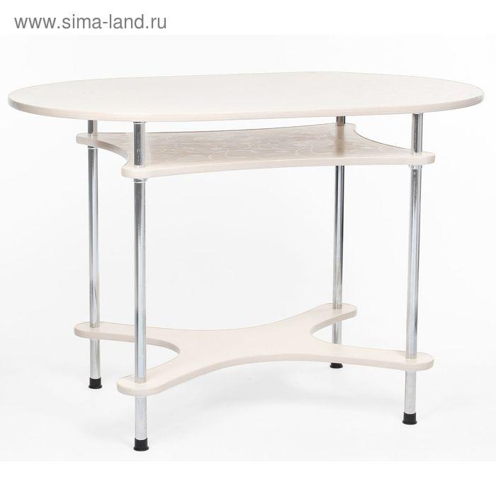 """Стол обеденный """"Мия-2"""", цвет крем тиснение цветы"""