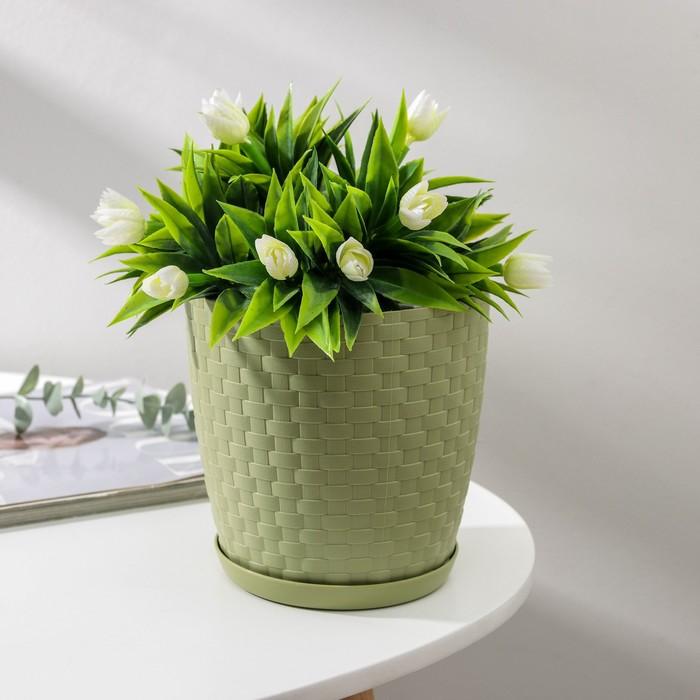 """Горшок для цветов с поддоном 2 л """"Ротанг"""", цвет оливковый - фото 1694221"""