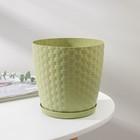 """Горшок для цветов с поддоном 2 л """"Ротанг"""", цвет оливковый - фото 1694222"""