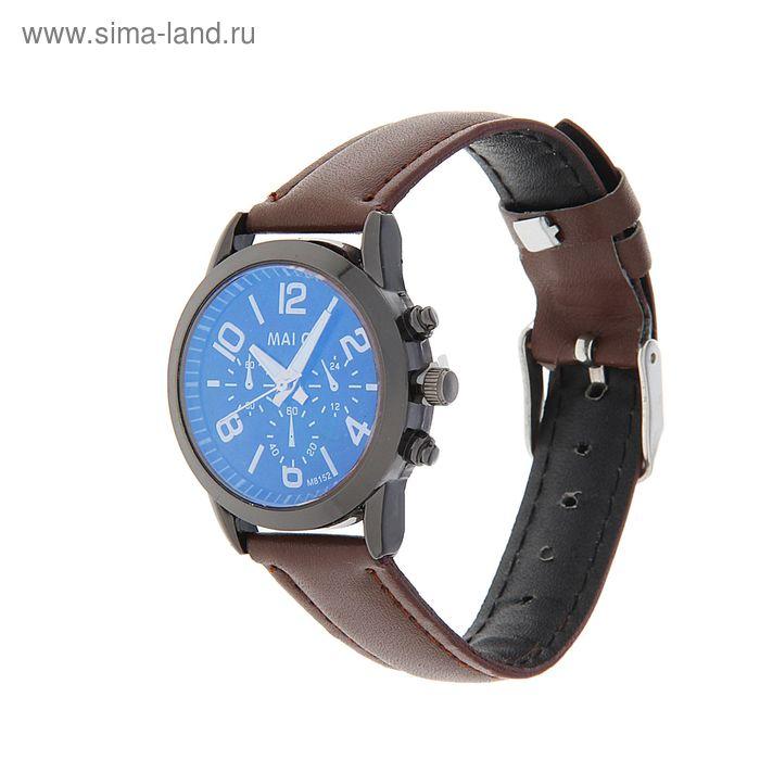 Часы наручные женские Mai Qi темный циферблат, 3 кнопки ремешок коричневый