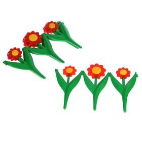 Декоративное ограждение для сада и огорода, 32,5 × 225 см, 5 секций, пластик, красный цветок, «Ромашка»